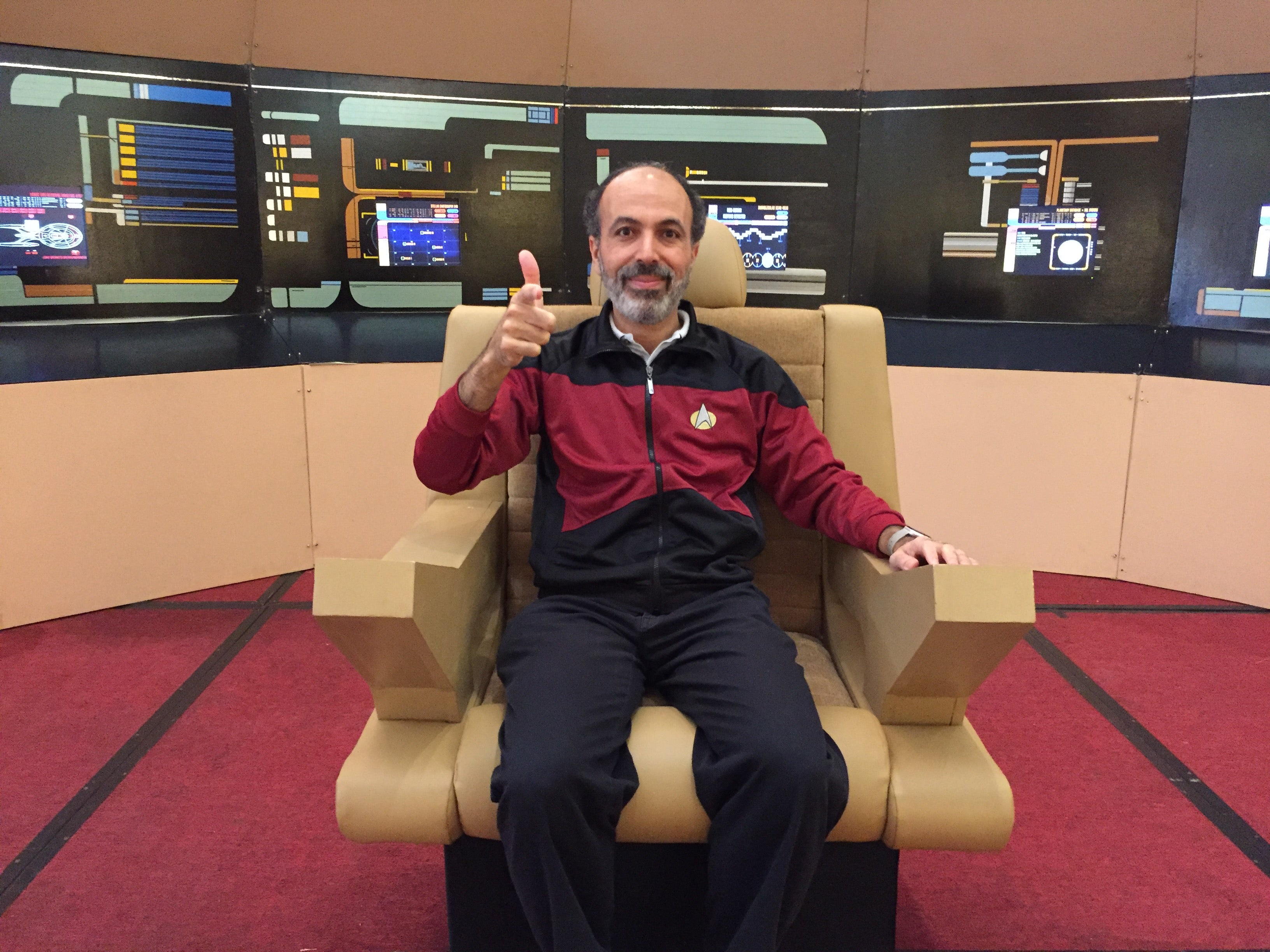 Dr Mohamed Noor on the Enterprise bridge