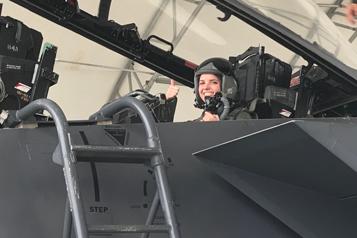 Biomajor Joy Duer in the cockpit of an F-15.